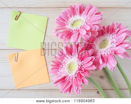 Sticky Note And Pink Flower
