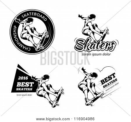 Vintage skateboarding labels, logos and badges vector set