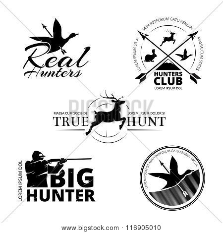Hunting club vector labels, logos, emblems set