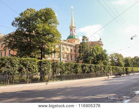 Mikhailovsky Castle Behind The Trees.