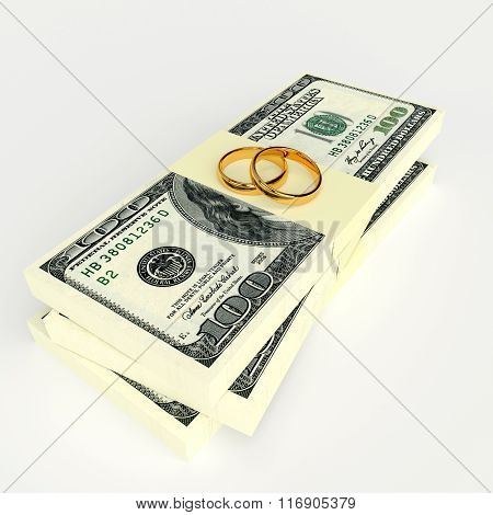 Marriage Contract. Rings On The Money