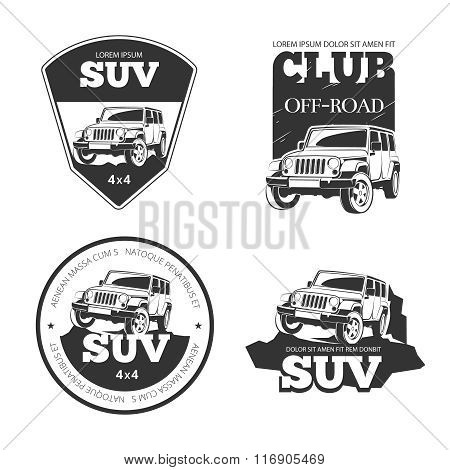 Suv car vector emblems, labels and logos