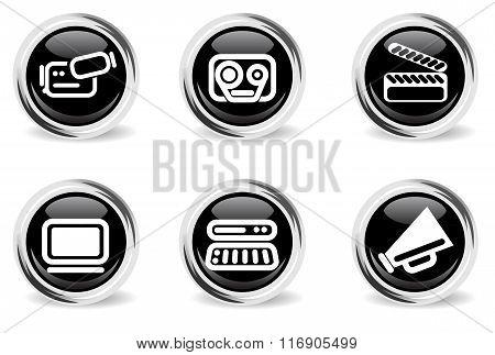 round glossy media icon set