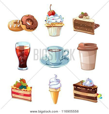 Street cafe products vector cartoon set. Chocolate, cupcake, cake, cup of coffee, donut, cola and ic