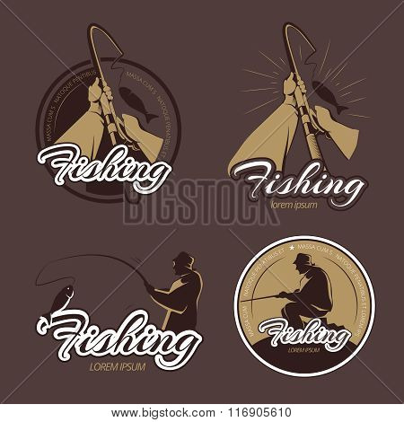 Vintage fishing club vector emblems and labels
