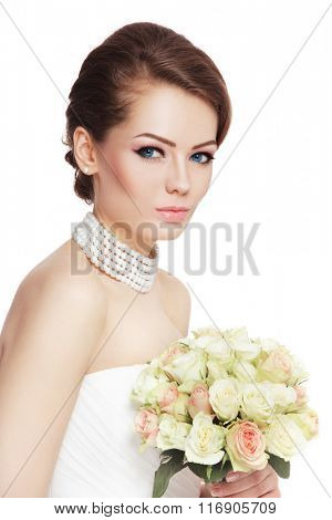 Young beautiful happy bride with stylish make-up and bouquet over white background, copy space