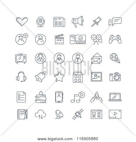 Social media, network line vector icons set