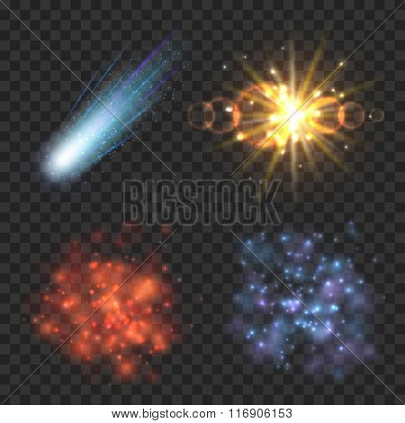 Space stars, comet and explosion on transparence checkered background