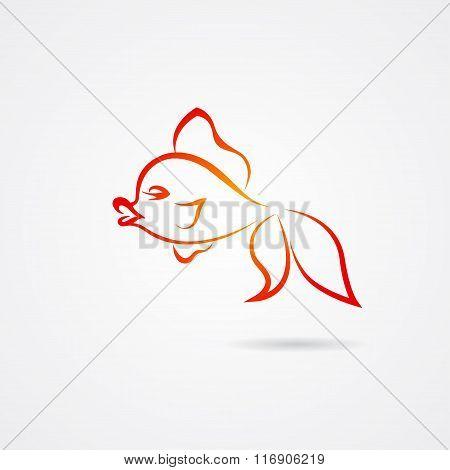 Hand drawn goldfish isolated on white background