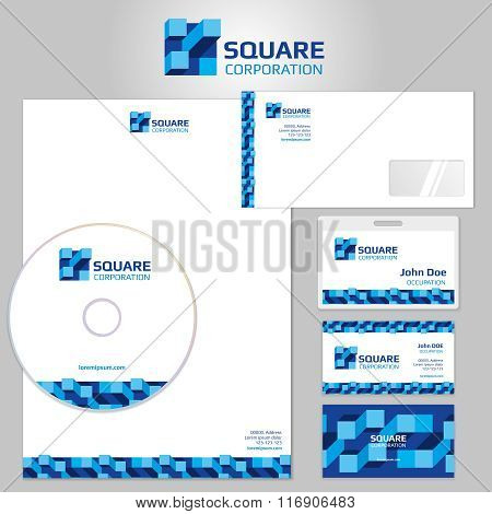 Stationery vector template with blue geometric elements and square logo
