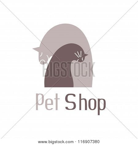 Cat and dog tender embrace,sign for pet shop logo