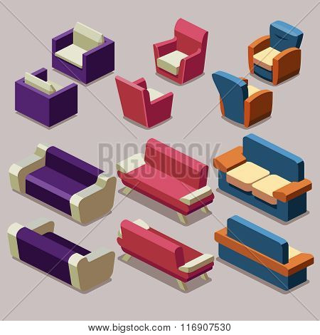 Living room isometric furniture vector set. Sofa and armchairs