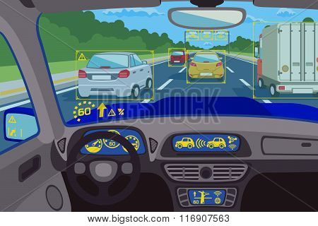 Head-up system technology in car. Vector illustration