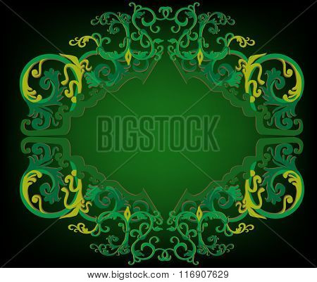 illustration with green decoration on dark background