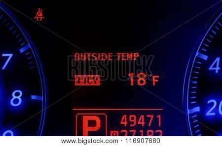Modern Car Speedometer Showing Very Cold Temperature