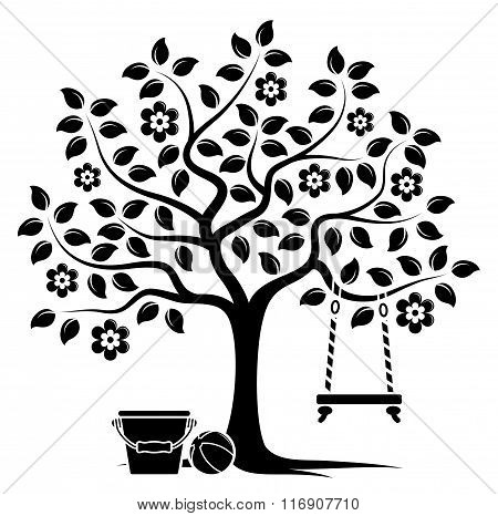Flowering Tree With Swing And Toys