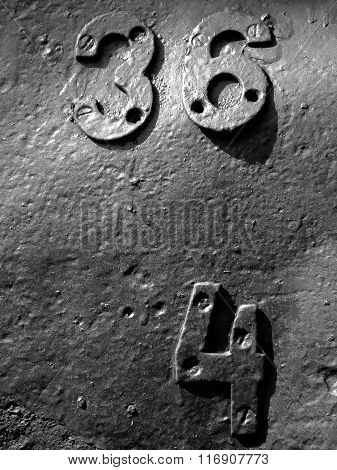 The metal number background and texture. Black white