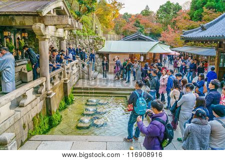 Kyoto, JAPAN-December 2: Tourist at Kiyomizu-dera Temple in Kyoto Japan on December 2,2015 Kiyomizu-dera was founded in the early Heian period.