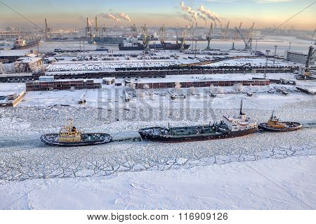 Top View Of Icebound Sea Channel, Commercial Port Saint-petersburg, Russia.