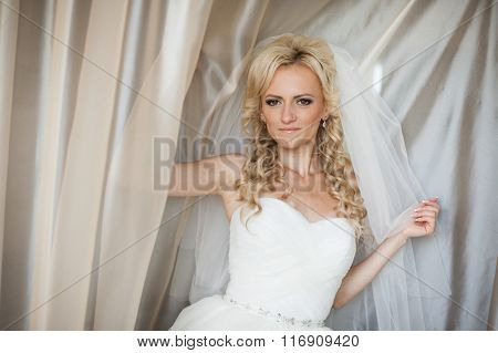 Beautiful Gorgeous Stylish Blonde Bride Under Tulle Near A Window In The Morning In The Room