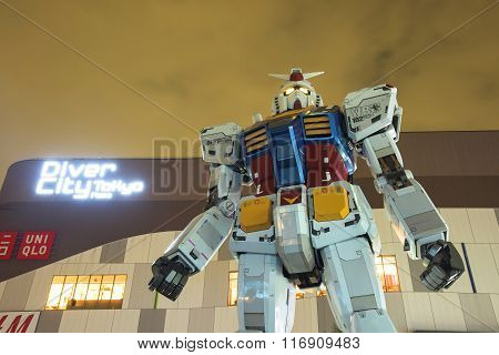 Gundam Statue At Twilight Sky