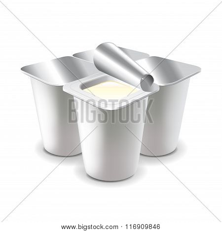 Four Yogurt Cups Isolated On White Vector