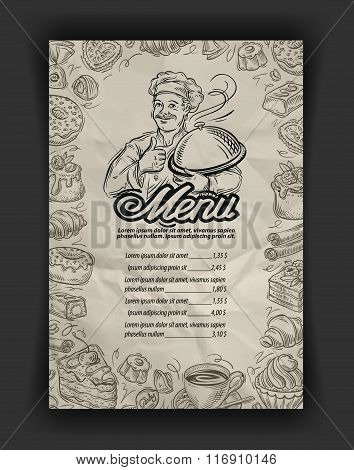 vector hand drawn menu restaurant sketch and chef, food doodle