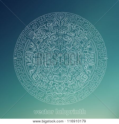 Mandala Labyrinth Abstract Outline Ornament Task. Find The Right Way