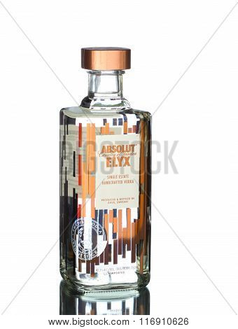 Bottle of Swedish vodka Absolut ELYX