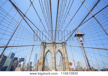 Wide Angle Photo Of The Brooklyn Bridge, Nyc, Usa