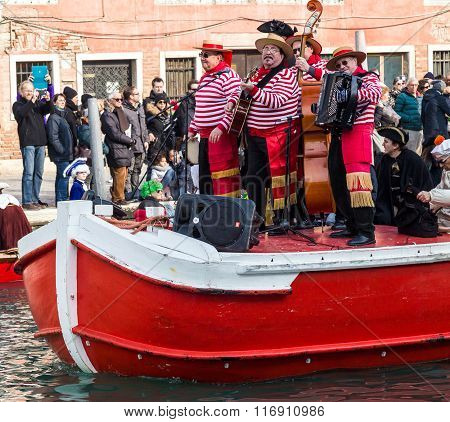 Group Of Singers At The Carnival Procession On Venice Italy 1