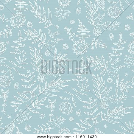 Elegant stylish hand draw floral background. Seamless pattern