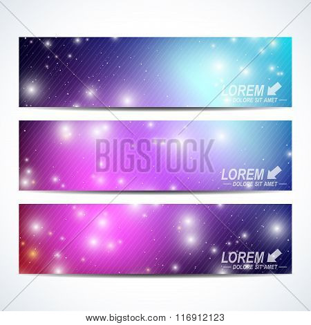 Set of the vector horizontal banners.  Background science, connection, chemistry, biology, medicine,