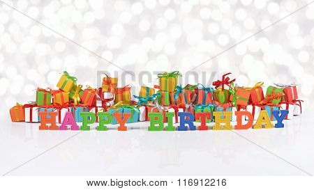 Happy Birthday Colorful Text On The Background Of Gifts