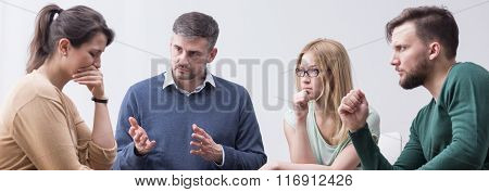 Depressed Woman With Support Group