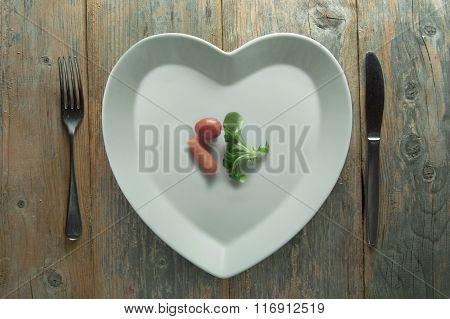 Heart Shape Plate Diet Concept