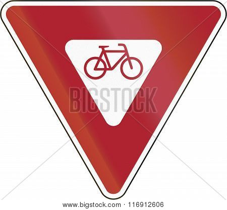 United States Road Sign - Cyclists Must Yield