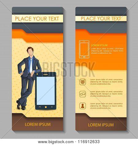 Business executive on corporate brochure design