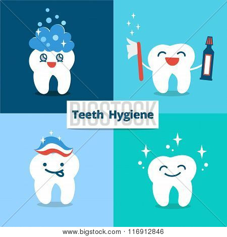 Vector Tooth hygiene set. Teeth care and hygiene concept with happy cute tooth..