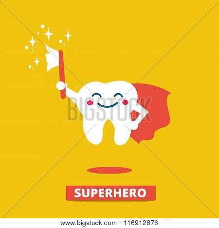 Vector flat illustration of Hero Tooth With Toothbrush. Teeth care and hygiene concept with happy cute tooth superhero.