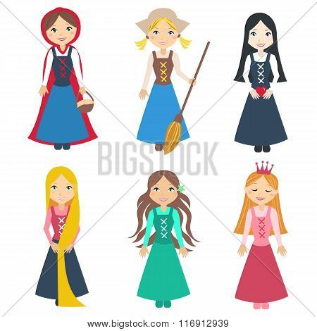 Set of Beautiful princesses from classic fairy tale stories. Cute little characters. Vector illustration set