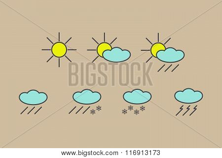 Vector Set Of Yellow, Blue, Grey Weather Forecast Icons Isolated