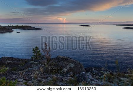 sunset on lake Ladoga, Karelia