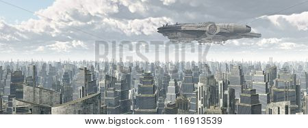 Spaceship over a city