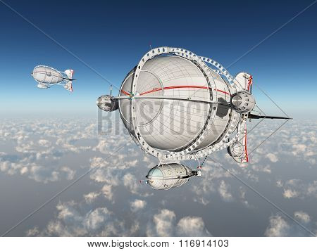 Fantasy airships above the clouds