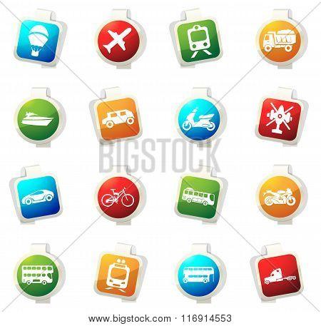 Transport types icons set