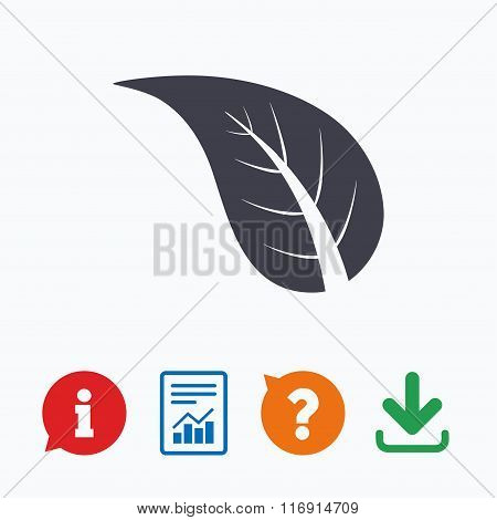 Leaf sign icon. Fresh product symbol.