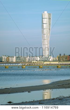 Malmo Turning Torso And Cityscape
