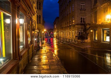 Quebec City Quebec Canada - Sept. 8 2015: Empty streets in early morning await the rush of spectators expected for Quebec's international grand prix cycling event.