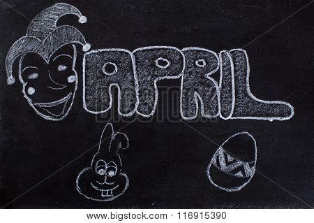 April Handwritten On Blackboard